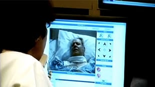 eICU communicates with bedside in real-time with 2-way audio/video